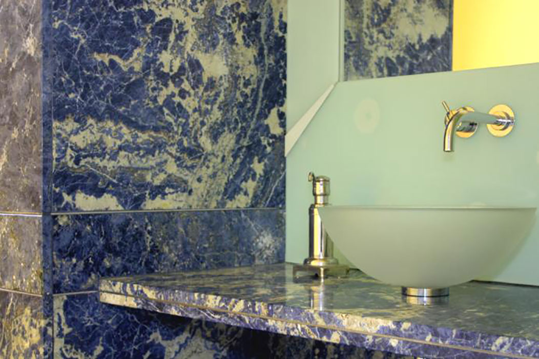 Blue Bathroom Counter Sample